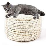 JSPYFITS Kratzbaum Zubehör Seil 7mm, Mehrzweckseil Sisalseil für Kratzbaum, Natürliches Sisalseil, Geeignet für Gartendekoration, Katzenbaum, Katzen Zubehör, Naturfaser(Weiß 50 Meter)