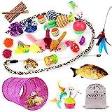MIBOTE 30 Stück Katzen Spielzeug Katzenspielzeug Set mit Katzentunnel Jingle Bell, Katzenminze, Fisch, Spielzeugmäuse, Katzentunnel Spielzeug Variety Interaktive Spielzeug Pack für Kitty