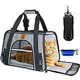 Cokomono Transporttasche Katze, Tragetasche faltbar, Transportbox für Katzen und kleine Hunde, Hundebox Auto, Faltbare Hundetasche, grau/schwarz