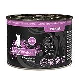 catz finefood Purrrr Lamm Monoprotein Katzenfutter nass N° 111, für ernährungssensible Katzen, 70% Fleischanteil, 6 x 200 g Dose