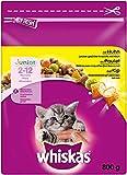 whiskas Katzenfutter Trockenfutter Kitten für Junior Kätzchen mit Huhn, (5 x 800 g)