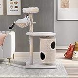 Itopfoxeu Katzenbaum mit Kratztonne,Katzenbaum mit Zylindrisches Katzenhaus,Kratzbaum Aktivitätszentrum für Katzen Beige