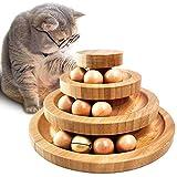 G.CORE Katzen Spielzeug Katzenspielzeug Intelligenz Mit Feder Katzenklingel Katzenball Zubehör Set 3-stufig Murmelbahn/Kugelbahn Holz Interaktives Natürliche Bambusbasis (Federversion Kugelbahn)