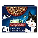 FELIX Sensations Crunchy Katzenfutter nass in Gelee, Sorten-Mix, 6er Pack (6 x 10 Beutel à 85g)