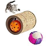 VECELA Katzen Spielzeug, Natural Sisal Roller Post Toy, Katzen Fummel Spielzeug, Kratzwalze Der Haustierkatze mit Lustigem Spielspielzeug Der Glockenkugelkatze 8 X 10,3 cm / 3,1 X 4,1 Zoll