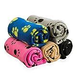 Yillin Productions Flanell-Fleece-Decke-Flauschige und weiche Decken-Katzen- und Welpenzubehör-100x70cm Doppelseitige Flanell-Wurfdecke für Katzen und Hunde-Niedliches Pfoten-Design-5 Farben (Grau)