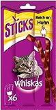 Whiskas Sticks – Katzensnack mit Hühnchengeschmack – Unwiderstehliches Geschmackserlebnis – Viele Vitamine und Mineralstoffe – 14 Packungen à 36g
