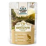 Wildes Land - Nassfutter für Katzen - Nr. 5 Ente & Pute - 12 x 100 g - Getreidefrei - Extra viel Fleisch - Beste Akzeptanz und Verträglichkeit