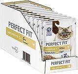 Perfect Fit Sensitive 1+ – Nassfutter für erwachsene, sensible Katzen ab 1 Jahr – Huhn in Sauce – Ohne Weizen & Soja – Unterstützt die Verdauung – 12 x 85 g