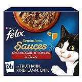 FELIX Sensations Saucen Katzenfutter nass in Gelee, Sorten-Mix, 4er Pack (4 x 24 Beutel à 85g)