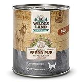 Wildes Land - Nassfutter für Hunde - Pferd PUR - 24 x 800 g - mit Distelöl - Getreidefrei & Hypoallergen - Extra hoher Fleischanteil von 70% - Beste Akzeptanz und Verträglichkeit