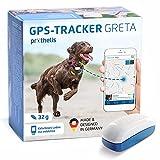 Prothelis Greta Hunde GPS Tracker Mini Peilsender mit App 32g leicht wasserdicht   Tracking GPS für Hunde mit Akku Laufzeit bis 5 Tage   GPS Tracker Hund klein unauffällig für das Hundehalsband