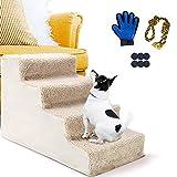 Masthome Hundetreppe mit 4 Stufen, mit Haustierhandschuh, Kunststoff, rutschfest, für Hunde und Katzen bis zu 30 LB