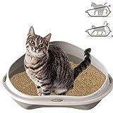 Smartweb Katzenklo 58cm x 48cm x 17cm Katzentoilette mit Anti Schmutzrand Ecktoilette für große und kleine Katzen