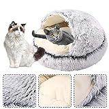 Dihope Katzenkörbchen Kuschelhöhle mit Plüsch warm Kuschelbett Hundebett Katzenbett für Kleintiere Hunde Katzen leicht zu entfernen und zu waschen