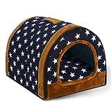 PowerKing Hundehöhle, rutschfestes Haustierhund- und Katzenhaus und Bett mit Kissen, 2 in 1 Welpenbett (Star)