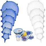 AGAKY Dehnbare Silikondeckel, 12 Stück Silikon Deckel Stretch BPA Frei, Stretch Silikondeckel Wiederverwendbar Universal Passend für Behälter, Schüsseln, Platten, Gläser, Dosen, Becher