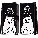 ShinyCase für Huawei Y5 2017/Y6 2017,PU Leder Hülle für Huawei Y6 2017 Brieftasche Handyhülle Kartenfächer Magnetholster Etui Stoßfest Anti-Scratch Handytasche Ständer Schutzhülle -Weiße Katze