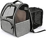 CATROMANCE Hunderucksack Katzenrucksack für Hunde und Katzen Welpen bis 6.5kg Erweiterbare und Faltbare Katzentransportbox für Reisen Wanderabenteuer Camping im Freien+Internem Sicherheitsgur