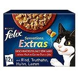 FELIX Sensations Extras Katzenfutter nass in Gelee, Sorten-Mix, 6er Pack (6 x 12 Beutel à 85g)