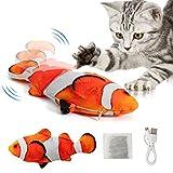 DazSpirit Katzenspielzeug Elektrisch Fisch, Flippity Fish Katze Spielzeug Interaktives Fisch Spielzeug Für Katzen, Katzenspielzeug Mit Katzenminze, USB Aufladung, Waschbar, Für Katze Zum Spielen, Rot