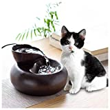 Trinkbrunnen für Haustiere, 1,5 l Keramik-Trinkbrunnen für Hunde und Katzen, Trinkwasserspender mit 6 STÜCK Aktivkohlefilter, Flüsterleise Pumpe (Color : Black)