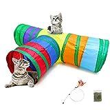 Yhtxa 3 Wege Katzentunnel Pet Tube Faltbares Spielzeug Indoor Outdoor Kitty Kaninchen Welpenspielzeug für Puzzle Übungen Verstecken Training und Laufen mit Fun Ball Katzenminze und Federspielzeug