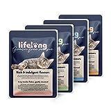 Amazon-Marke: Lifelong Getreidefreies Nassfutter für ausgewachsene Katzen (Fleischauswahl in Gelee: Huhn, Ente, Truthahn, Rind) ,2,4 kg (28 Beutel x 85g)