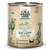 Wildes Land - Nassfutter für Hunde - Bio Lamm - 6 x 800 g - Getreidefrei - Extra hoher Fleischanteil von 60% - 100% zertifizierte Bio-Zutaten - Beste Akzeptanz und Verträglichkeit
