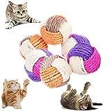 Katzenspielzeug Bälle,Katze Sisal Ball,Katzenball aus Sisal-Seil ,Haustier Kratzball,Katzenspielzeug , Katzenspielzeug Ball für Haustier Katzen Spielen, 6 Stück.