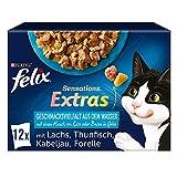 FELIX Sensations Extras Katzenfutter nass in Gelee, Fisch Sorten-Mix, 6er Pack (6 x 12 Beutel à 85g)