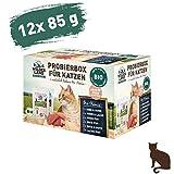 Wildes Land - Nassfutter für Katzen - Mix - Bio - 12 x 85 g - Aus kontrolliertem biologischen Anbau - Getreidefrei - Extra viel Fleisch