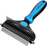 Alihoo Hundebürste und Katzenbürste, 2-in-1-Enthaarungs-/Fell-Kamm zum Entfernen von Verfilzung für kleine/große Hunde und Katzen,Tierpflege-Werkzeug