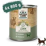 Wildes Land - Nassfutter für Hunde - Nr. 1 Lamm - 6 x 800 g - mit Reis, Zucchini, Wildkräutern & Distelöl - Glutenfrei - Extra viel Fleisch - Beste Akzeptanz und Verträglichkeit