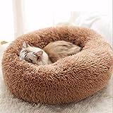 NIQIU Super Weiches Haustierbett Zwinger Hund Runde Katze Winter Warmer Schlafsack Nest Weiche Lange Plüsch Welpen Kissen Matte Tragbare Katzenbedarf-Khaki,30 cm