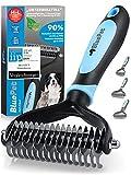 Bluepet® UnterwollToll Hundebürste & Katzenbürste für langhaar   Unterwollkamm entfernt Unterwolle & Verfilzungen   Ausdünnen & Deckhaarschutz   Fellbürste Größe M-L blau