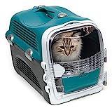 Catit Cabrio Carrier, Transportbox für Katzen, 40,5 x 27 x 53cm, türkis/grau
