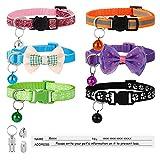 Winkwinky 6 Stück Katzenhalsband mit Glocke und 2 Adressanhänger, Reflektierende Katzen Halsbänder mit Sicherheitsverschluss Verstellbar 19-32 cm Kitten Halsband für Kleine Hunde Hauskatzen