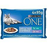 Purina One Schliff in Sauce, Mahlzeit für ausgewachsene Katzen, Kalb + Thunfisch, 12 (4 x 85 g)
