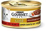 PURINA GOURMET Gold Délicatesse en Sauce Katzenfutter nass, mit Rind und Huhn, 12er Pack (12 x 85g)