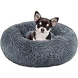Sayiant Haustierbett Rundes Plüsch katzenbett flauschig Tragbare Warme Weiche Bequeme Hundesofa für Haustiere/Welpen/Haustier/Katzenbett in Doughnut-Form 50CM (Dunkelgrau)