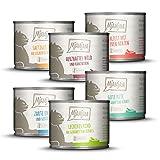 MjAMjAM - Premium Nassfutter für Katzen - Mixpaket 3 - Wild & Kaninchen, Pute, Ente & Geflügel, herzen, Huhn, Rind, 6er Pack (6 x 200 g), getreidefrei mit extra viel Fleisch