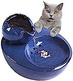 Katzen Trinkbrunnen Keramik-Trinkbrunnen für Haustiere, Katzen-Wasserspender, Trinkbrunnen für Hunde im Blumenstil mit Filter, superleise automatische Wassertrinkschalen (Color : Blue)