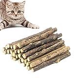 JIASHA Katzen Kauhölzer,30 Stück Pets Katzenminze Stick,für die natürliche Katzen Zahnpflege,Dental Kau-Sticks helfen bei Zahnstein & Mundgeruch