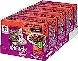 Whiskas 1 + Katzenfutter – Klassische Auswahl in Sauce – Hochwertiges Nassfutter – Für eine glückliche Katze – 48 Portionsbeutel à 100g