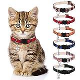 Veraing Katzenhalsband mit Glöckchen, Sicherheitsschnalle Katzenhalsband mit Sicherheitsverschluss Verstellbares Schnellverschluss Reflektierend für Katzen, Hunde, kleine Haustiere (6 Stück)