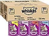 Whiskas 7 + Katzenfutter – Gemischte Auswahl in Gelee – Hochwertiges Nassfutter für Katzen ab 7 Jahren und älter – Für die Bewahrung der Vitalität – 84 Portionsbeutel à 100g