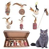 8 Stück Katzenspielzeug, interaktywny zestaw zabawek dla kota, Teaser Katzenspielzeugstab, Holz Teaser Zauberstab Angelrute realistisch mit lustiger Kugelratte für Kätzchen