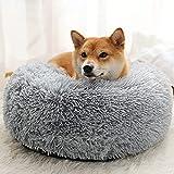 JIUFU Lange Plüsch Haustierbett Katze Weiches Bett für Hunde Zwinger Hund Runde Winter Warm SchlafenWelpen Kissen Matte Tragbare Katzenbedarf