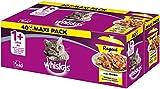 Whiskas 1 + Katzenfutter Ragout – Geflügel-Auswahl in Gelee – Abwechslungsreicher Geschmack durch verschiedene Geschmacksrichtungen – 40 Portionsbeutel à 85g